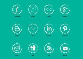 Chalk Social Media Icon Vector Set
