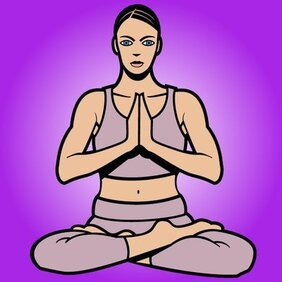 Femmes Cartoon Pose de Yoga