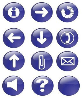 Blue Glossy Icon Buttons