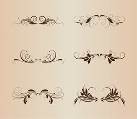 Set Vintage Diseño Floral elementos Vector Illustration