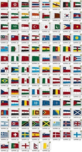 109 countries and territories waving the banner of vector ma