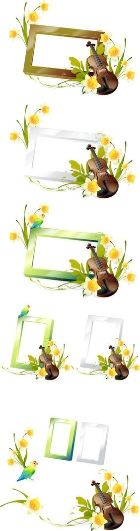 Romantic floral frames with cello