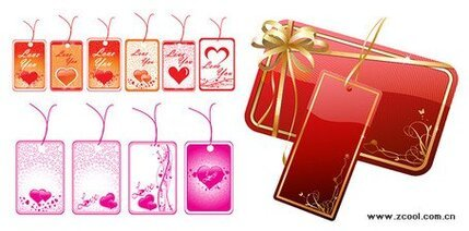 Heart-shaped vector material label