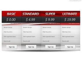 Automotive pricing table template (PSD)