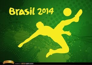 Player kicking Brasil 2014 football