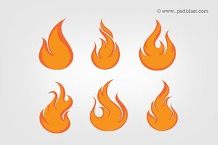 Fire Flames Icon Set (PSD)