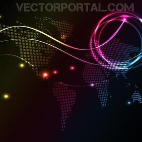 GLOWING VECTOR ILLUSTRATION WITH WORLD MAP.eps
