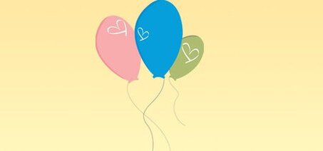 Three Balloons with Hearts