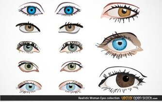 Realistic Woman Eyes Vector Collection