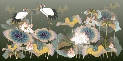 White Crane And Lotus