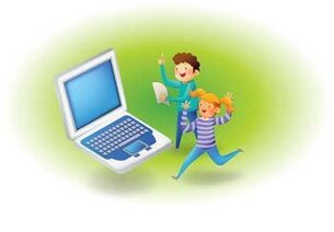 Kids and laptop