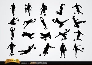 20 Soccer player silhouettes