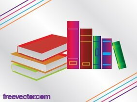 3D Colorful Books with Blank Cover