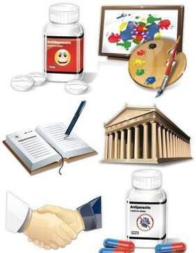 Architecture, medicine tablets, appointment, art class