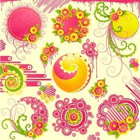 Cute pink flowers with the trend of a circular vector materi