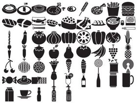 Elements of a variety of silhouettes vector material - Food