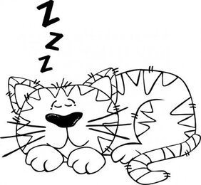 Cartoon Cat Sleeping Outline