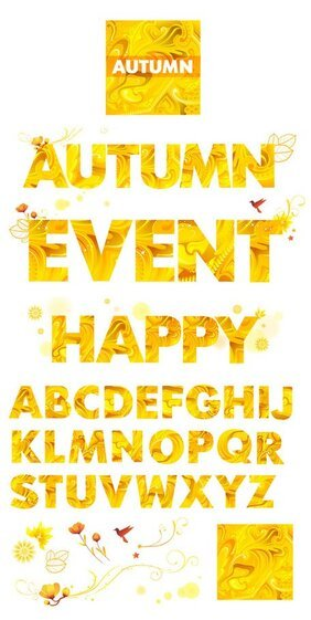 Yellow autumn alphabet