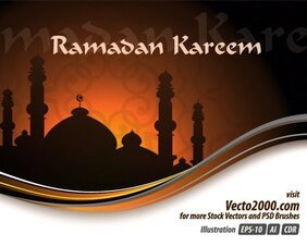Ramadan Kareem Vector Greeting Card Free