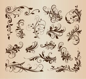 Vintage Swirl Floral Ornament Design Vector Set