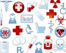 Collection of 40 Medical Themed Icons and Warning Signs