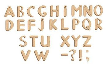 Vector wood grain English font