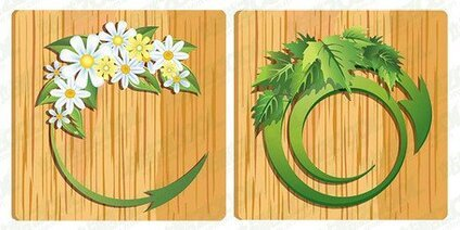 Flowers leaves wood grain