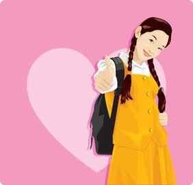 School girls vector 2