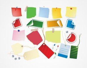 Post-It notera papper med stift & Shopping Taggar