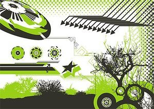 The trend of the arrow design elements such as trees, stars