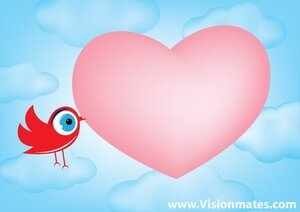 Big Pink Heart With Bird