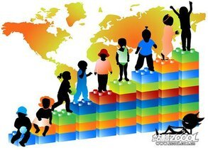 Children with a world map silhouette