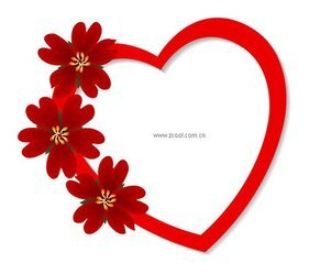 Heart-shaped red flowers element