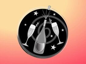 Funky Celebration Icon with Champagne & Glass