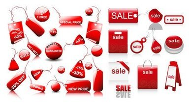 Sales discount red icon