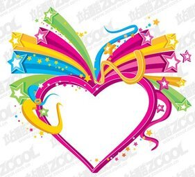 A colorful three-dimensional heart-shaped vector material St