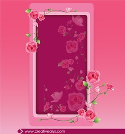 Beautiful Pinkish Rose Floral Frame