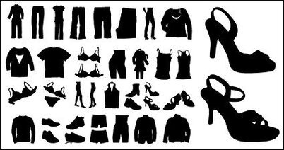 Vector silhouette of clothing and shoes