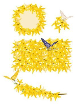 Golden yellow flowers and butterfly