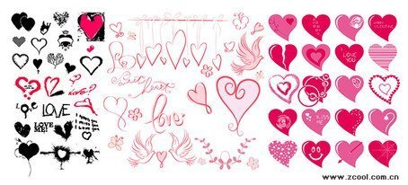 A variety of different styles of heart-shaped elements of ve