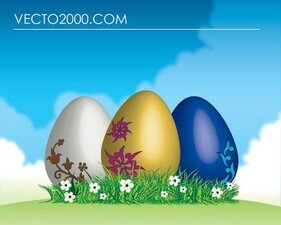 Easter Eggs On Green Grass Easter Landscape Sky