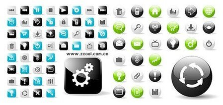 web2.0 circular and square icons vector icons web design mat