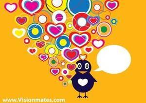 Retro Hearts Bird In Love