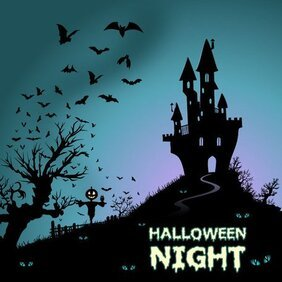 Happy Halloween Background with Haunted House and Bats Vector Art