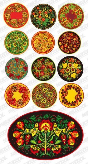 Classic pattern series of vector material -2 - Round pattern