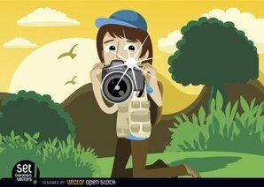 Photographer snapshot in landscape
