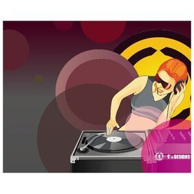 DJ tocando música ILLUSTRATION.eps