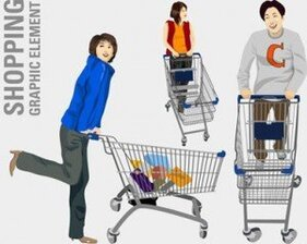 Vector stock : illustration de personnes shopping