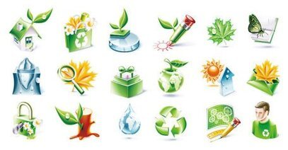 Three-dimensional environmental topic icon