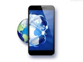 Global business, smartphone con l'icona del globo (PSD)